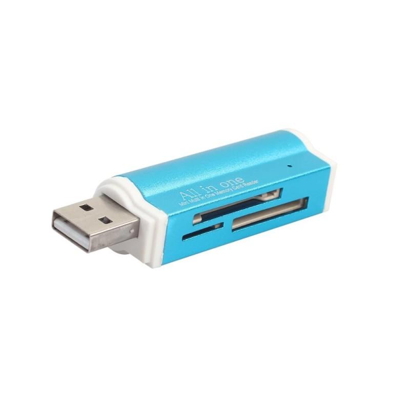 Bảng giá MagiDeal Đầu Đọc Thẻ SD USB 2.0 Hub Adapter Đọc 4 Thẻ Đồng Thời CF, CFI, TF SDXC, SDHC, SD MMC, Micro SDXC, MicroSD, Micro SDHC, MS cho Windows, mac, Linux Xanh Dương-quốc tế Phong Vũ