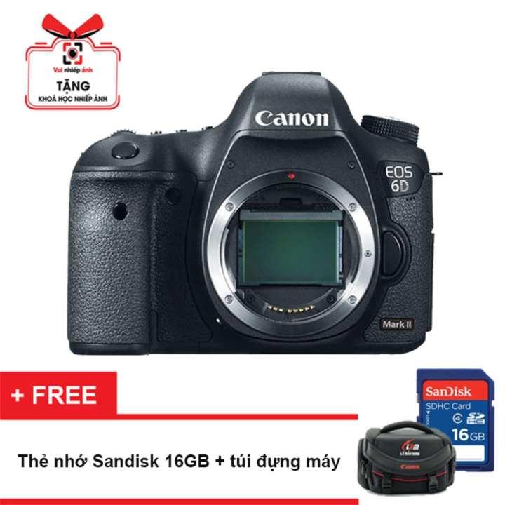 Máy ảnh Canon EOS 6D Mark II Body (Hãng phân phối chính thức) - Tặng thẻ nhớ 16GB, túi đựng máy, khoá học nhiếp ảnh