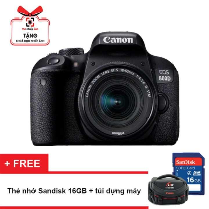 Máy ảnh Canon EOS 800D 24.2MP và lens Kit 18-55mm IS STM (Đen) - Hãng Phân Phối Chính Thức + Tặng thẻ nhớ 16GB và túi máy ảnh