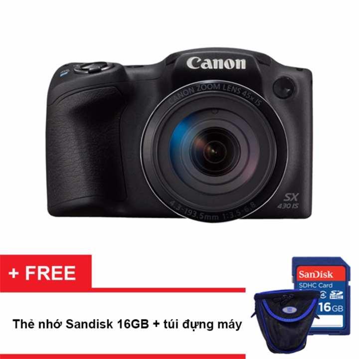 Máy ảnh Canon PowerShot SX430 IS 20MP và Zoom quang 45x (Đen) - Hãng phân phối chính thức (Tặng thẻ nhớ SD 16GB, túi đựng máy)