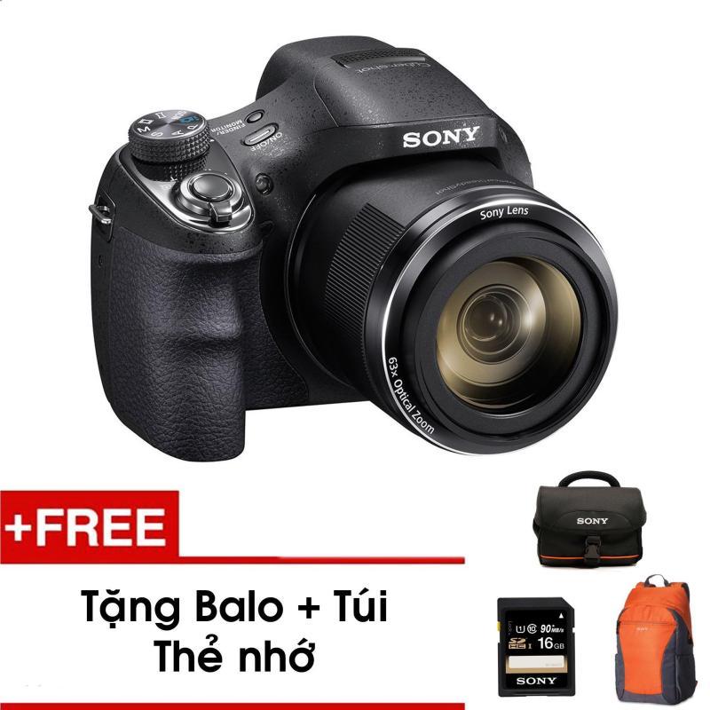 Máy ảnh KTS Sony DSC-H400 20.1MP và zoom quang 63x (Đen) - Tặng thẻ nhớ - Túi - Balo du lịch Sony - Hàng phân phối chính hãng