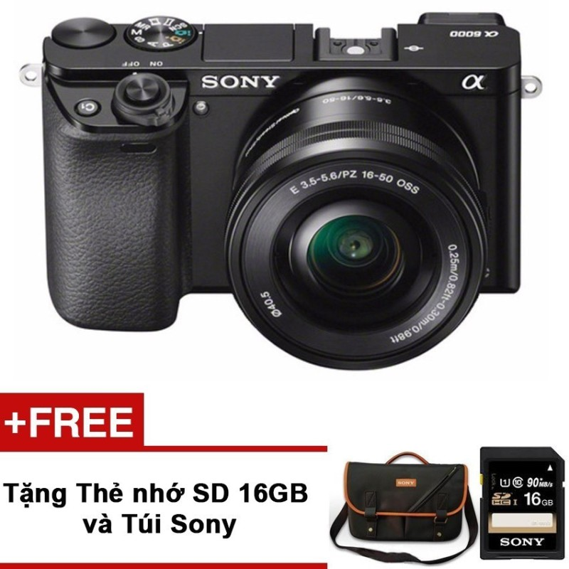 Máy ảnh Sony Alpha Alpha A6000L/BAP2 24.3MP với lens kit 16-50mm (Đen) - Hãng phân phối chính thức + Tặng Thẻ nhớ SD 16GB + Túi Sony