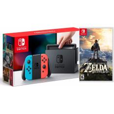Bán Mua Trực Tuyến May Chơi Game Nintendo Switch With Neon Blue And Neon Red Joy‑Con Zelda Breath Of The Wild