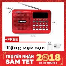 Hình ảnh Máy nghe nhạc Thẻ nhớ, USB, FM - Craven CR-16 (Đỏ)