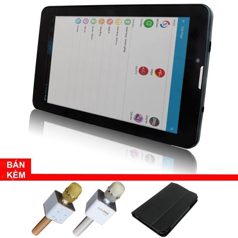 Máy tính bảng cutePad M7022 wifi/3G, 7, 8GB (Đen)+Bao da đen+ Micro Karaoke tích hợp loa Bluetooth cutePad TX-Q705 ngẫu nhiên- Hãng phân phối chính thức