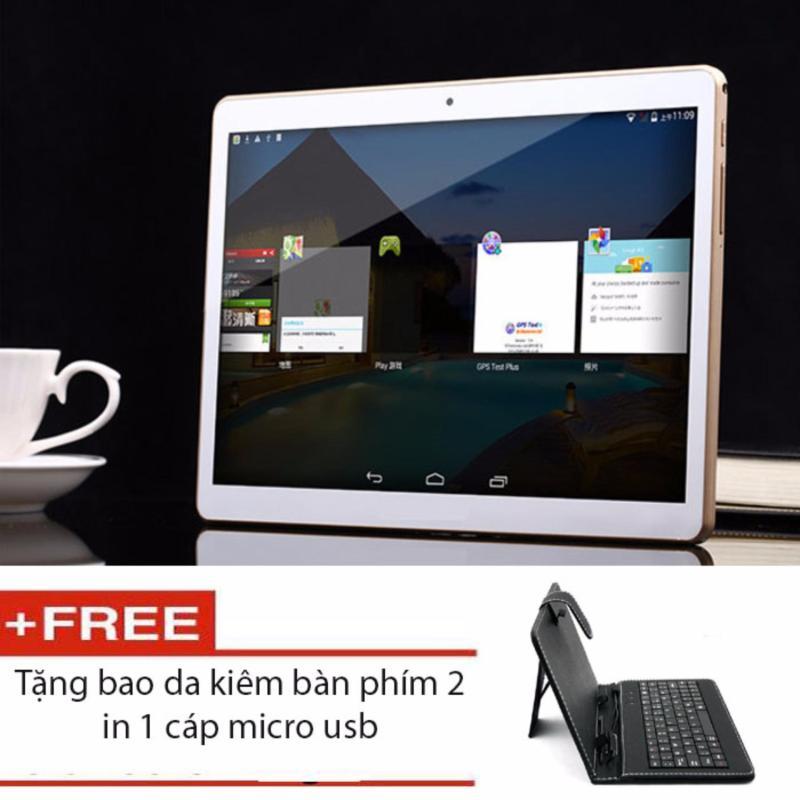 máy tính bảng tablet MTK 6592 2K 10.1inch Cortex A9 Ram 2 sim đàm thoại và 3G (Vàng) + tặng kèm bao da