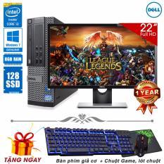 Máy tính đồng bộ để bàn Dell OptiPlex 790 SFF Core i3 2100, Ram 8GB, SSD 128GB + Màn hình Dell 22inch (Tặng phím giả cơ, chuột Game, lót chuột) - Hàng Nhập Khẩu