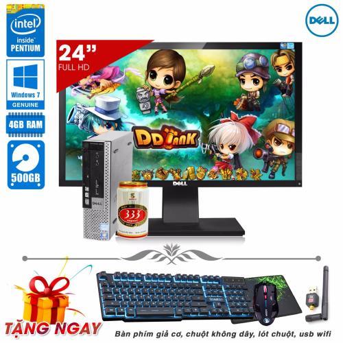 Máy vi tính siêu nhỏ Dell Optiplex 990 USFF Pentium® G620, Ram 4GB, HDD  500GB + Màn hình Dell 24inch (Tặng phím giả Cơ, chuột không