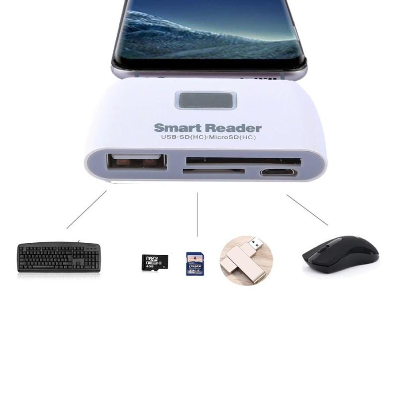 Bảng giá THẺ Micro SD + SD + USB 2.0 + Cổng Micro USB sang Micro USB OTG Đọc Thẻ Bộ Kết Nối với ĐÈN LED Chỉ Thị (Trắng) -quốc tế Phong Vũ