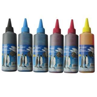 Mực in phun 6 màu đen, xanh, xanh nhạt, đỏ, đỏ nhạt, vàng G&G (NI 1020,1021,1022,1023, 1024, 1025) cho máy Epson T50, T60, 1390, 7110 thumbnail