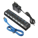 Bán Mua New 7 Port Usb 3 High Speed Hub On Off Switch Uk Eu Us Ac Power Adapter Us Intl Trong Hong Kong Sar China