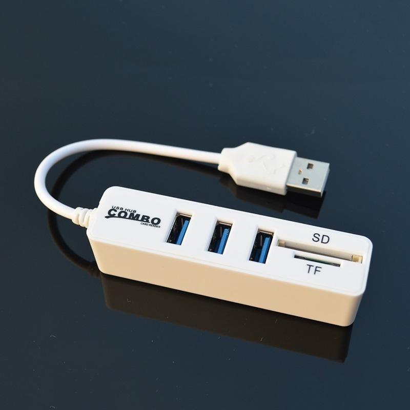 Bảng giá Newworldmall 3 USB2.0 1 TF 1 SD Plug Socket Dock Multi-Function Card Reader Connector White - intl Phong Vũ