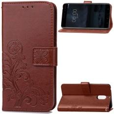 Ôn Tập Ốp Lưng Nokia 6 Cỏ Bốn La Thang 5 Mắn Da Pu Lật Nam Cham Vi Đứng Khe Cắm Thẻ Bao Da Bảo Vệ Cho Nokia 6 Nau Quốc Tế