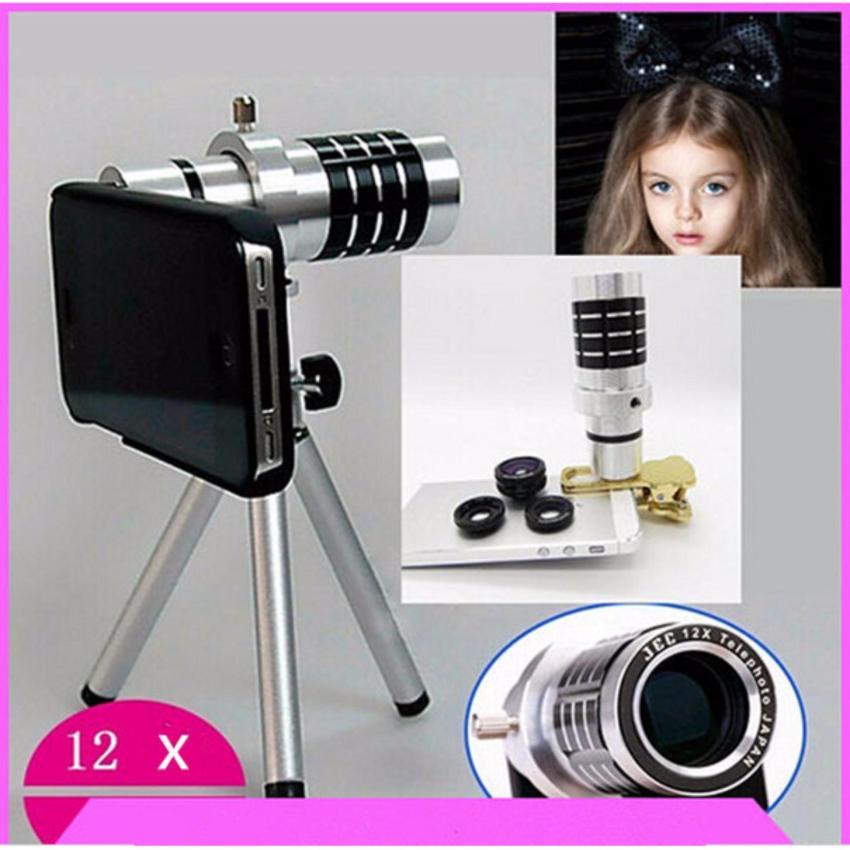 Giá Bán Ống Kinh Zoom Xa Đa Năng 12X Tele Lens Kit Cho Điện Thoại Bạc Tặng Tui Điện Thoại Chống Nước Oem Mới