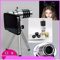 Mua Ống Kinh Zoom Xa Đa Năng 12X Tele Lens Kit Cho Điện Thoại Bạc Tặng Tui Điện Thoại Chống Nước