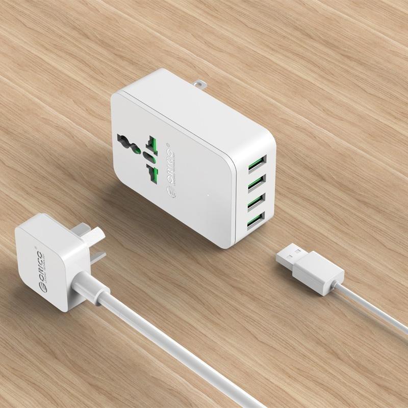 Bảng giá ORICO S4U 20 wát Ổ Cắm Điện đa năng Du Lịch Chuyển Đổi Adapter với 4 Cổng Sạc USB EU-quốc tế Phong Vũ