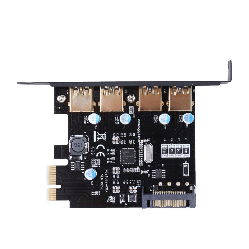 Bảng giá CARD PCI-E to USB 3.0 4 Cổng PCI Express Card Mở Rộng 15-Pin Kết Nối Nguồn (Màu Đen)-quốc tế Phong Vũ