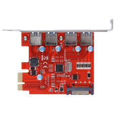 Card Pci E To Usb 3 4 Cổng Pci Express Card Mở Rộng 15 Pin Kết Nối Nguồn Đỏ Quốc Tế Nguyên