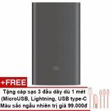Bán Pin Sạc Dự Phong Xiaomi 10000Mah Gen 2 Đen Tặng Cap Sạc 3 Đầu 1M Microusb Lightning Usb Type C Xiaomi Rẻ