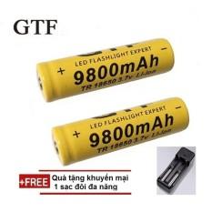 Giá Pin sạc GTF TR18650 3.7V Li-ion Battery đầu dương lồi dùng được cho các thiết bị công nghiệp (2 viên) + 1 Sạc Đôi