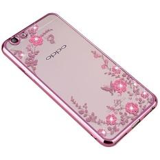 Plating Clear TPU Case Secret Garden Flowers Bling Diamond Soft Back Cover For