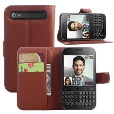 Bán Bao Da Điện Thoại Pu With Chuồn Đứng And Ngănđựng Thẻ Danh Cho Blackberry Classic Q20 3 5 Inch Mau Nau Quốc Tế Oem