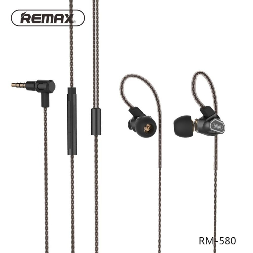 Remax Rm-580 Dual Moving-Coil 3.5Mm Wired Ear-Hook Earphone Headsetwith Remote And Mic