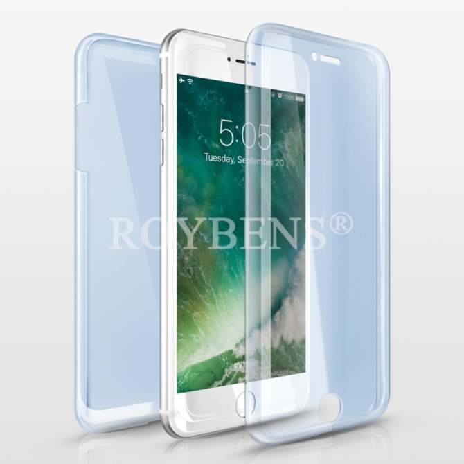 Roybens 360° Full Body Protect Soft Silicone Case Front + Back Cover For Apple iPhone