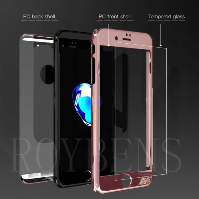 ROYBENS 360° Hard Ultra thin Hybrid Case +Tempered Glass Cover For iPhone 6/