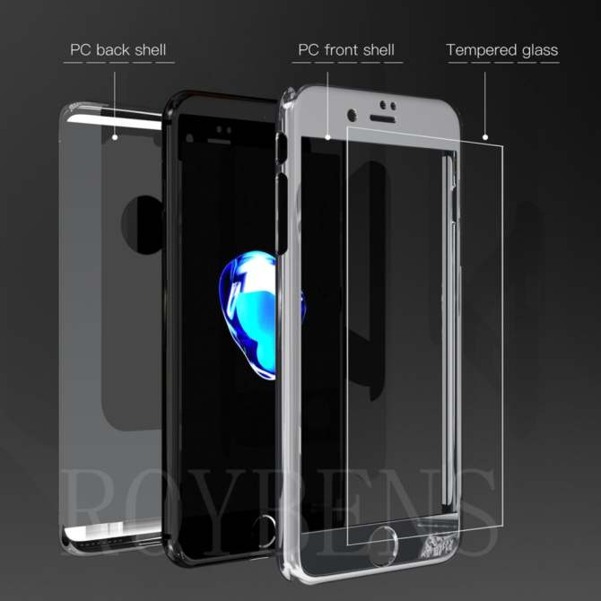ROYBENS 360° Hard Ultra thin Hybrid Case +Tempered Glass Cover For .