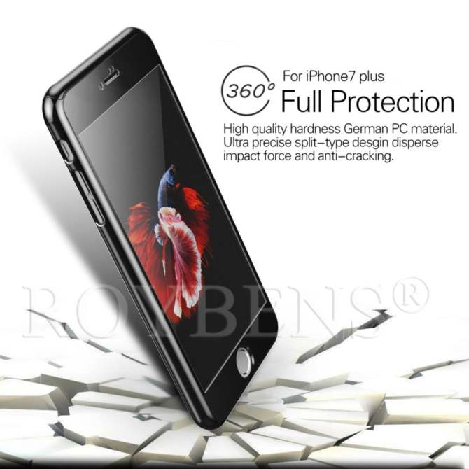 ROYBENS Hybrid 360° Shockproof Mirror Case Tempered Glass Cover For Apple iPhone 6/6s ...