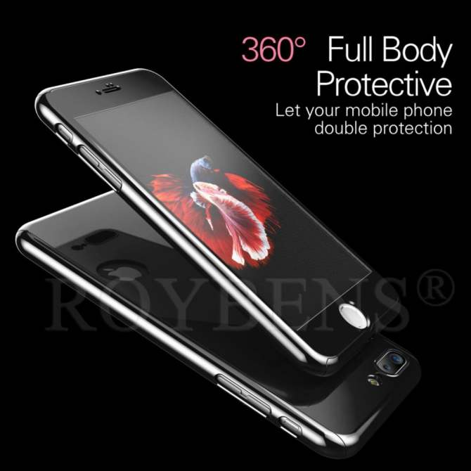 ... ROYBENS Hybrid 360° Shockproof Mirror Case Tempered Glass Cover For Apple iPhone 6/6s ...
