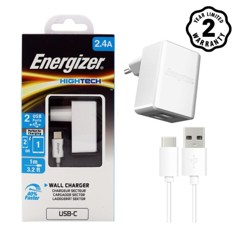 Sạc 2 cổng Energizer HT 2.4A (Trắng) + Kèm cáp USB- Type C 2.0 - ACW2BEUHC23