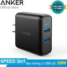 Sạc ANKER PowerPort Speed 2 cổng 39w Quick Charge 3.0 (Đen) – Hãng Phân Phối Chính Thức