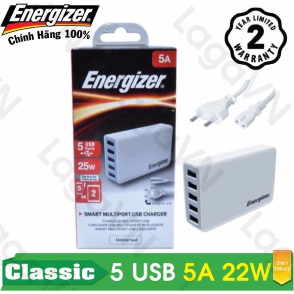 Sạc cao cấp Energizer CL 5 cổng USB 5A 25W - USA5CEUCWH5