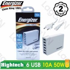 Sạc cao cấp Energizer HT 6 cổng USB 10A 50W - USA6EEUHWH5
