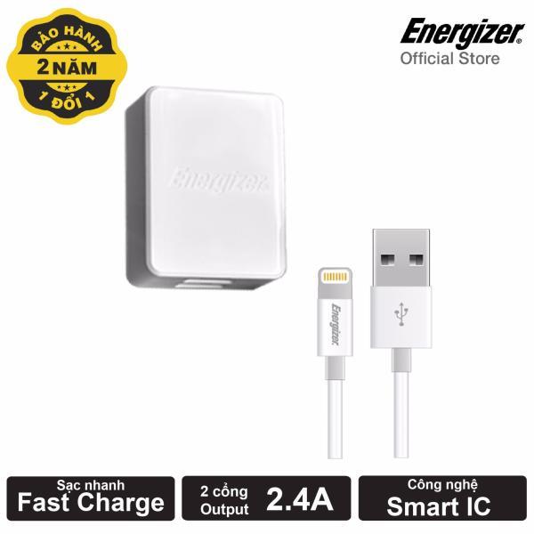 Sạc Energizer 3.4A 2 Cổng USB - Kèm 1 Cáp Lightning USB (Trắng)