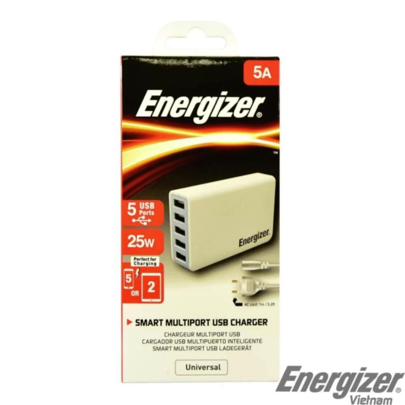 Sạc Energizer 5 cổng USB 25W EU (Trắng) - phân phối chính hãng