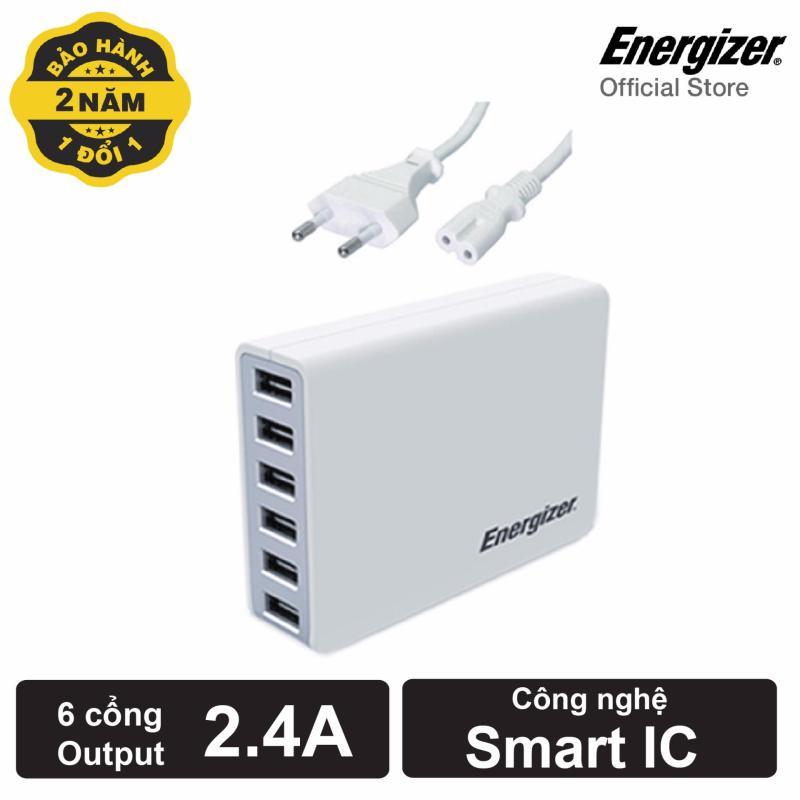Sạc Energizer 6 cổng USB 50W EU (Trắng)