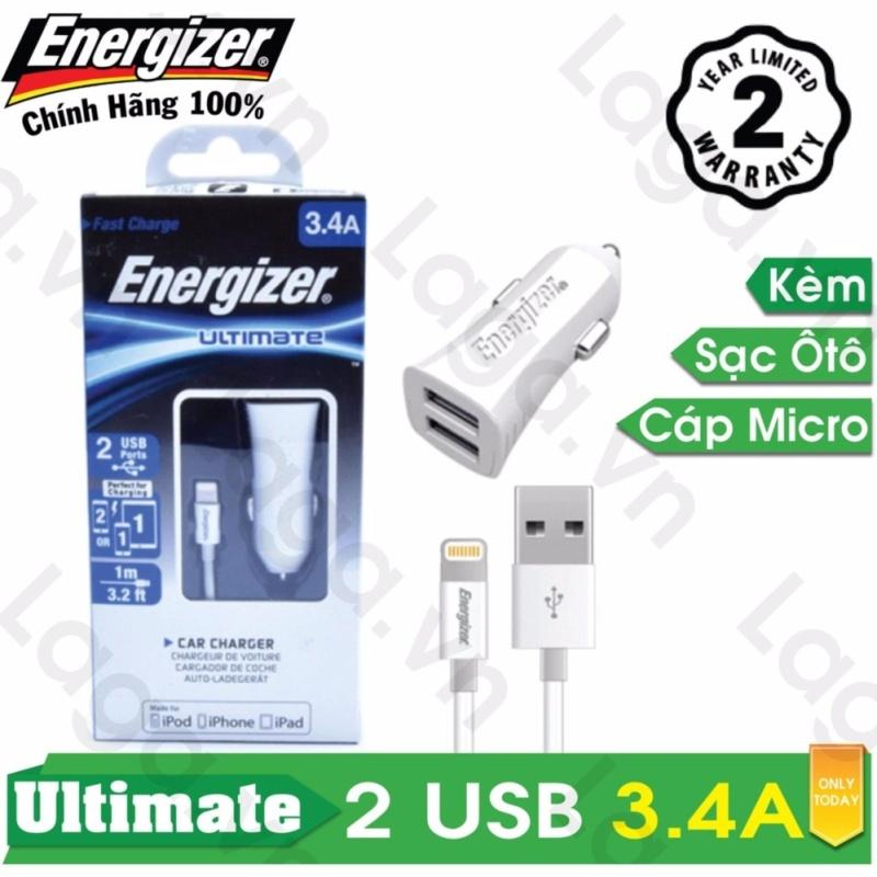 Sạc Ô tô cao cấp Energizer UL 2 cổng USB 3.4A + 1 Cáp Lightning MFi dài 1m - DCA2CULI3