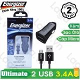 Mua Sạc O To Cao Cấp Energizer Ul 2 Cổng Usb 3 4A 1 Cap Micro Usb Dai 1M Dca2Cumc3 Trực Tuyến Rẻ