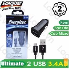 Sạc Ô tô cao cấp Energizer UL 2 cổng USB 3.4A + 1 Cáp Micro-USB dài 1m - DCA2CUMC3