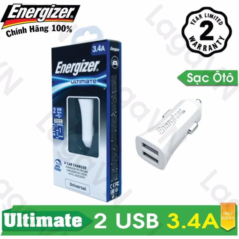 Sạc Ô tô cao cấp Energizer UL 2 cổng USB 3.4A - DCA2CUWH3