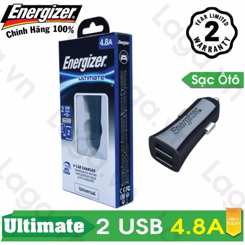 Sạc Ô tô cao cấp Energizer UL 2 cổng USB 4.8A - DCA2DUBK3