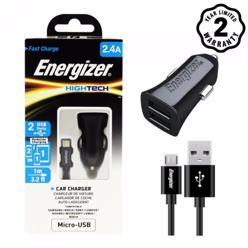 Sạc Ô tô Energizer 2 cổng 2.4A kèm cáp Micro USB cho xe hơi - DCA2BHMC3