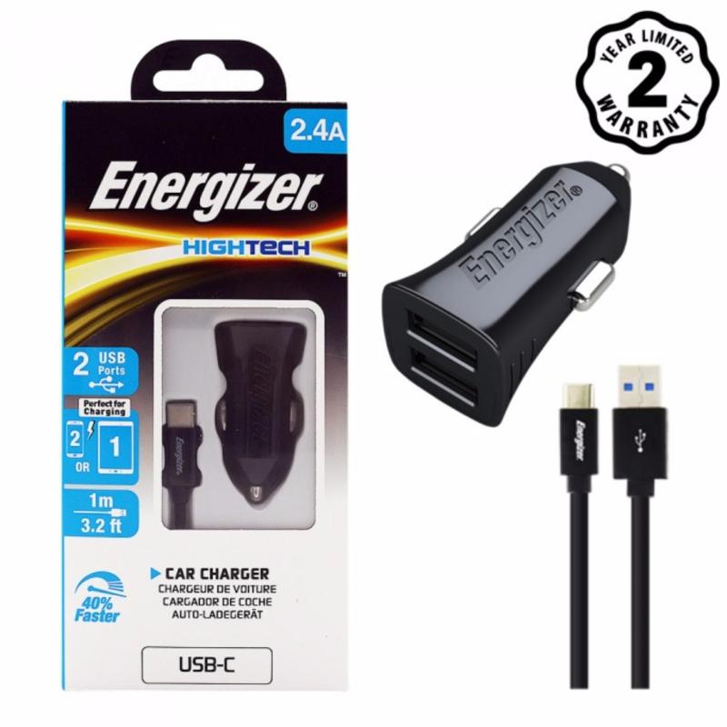 Sạc Ô tô Energizer 2 cổng USB 2.4A kèm cáp USB-C2.0 cho xe hơi - DCA2BHC23
