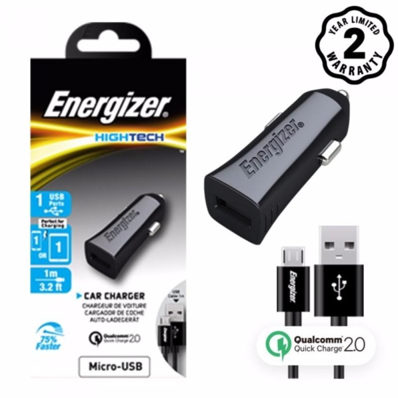 Sạc Ô tô Energizer Quick Charge 2.0 kèm cáp Micro USB cho xe hơi - DCA1QHMC3