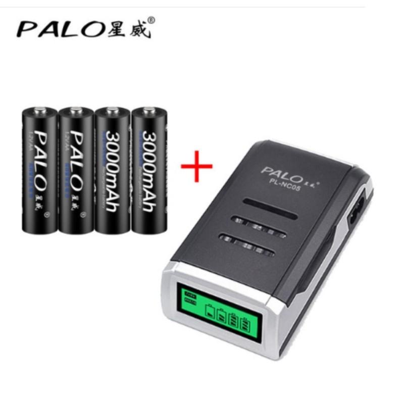 Sạc pin AA,AAA Palo hiển thị dung lượng kèm 4 pin sạc  AA Palo cao cấp