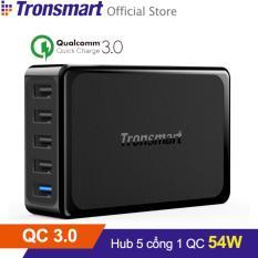 Sạc TRONSMART U5PTA 5 cổng 54w Quick Charge 3.0 (Đen) - Hãng phân phối chính thức