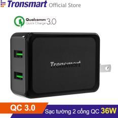 Sạc TRONSMART W2TF 2 cổng 36w Quick Charge 3.0 (Đen) - Hãng phân phối chính thức